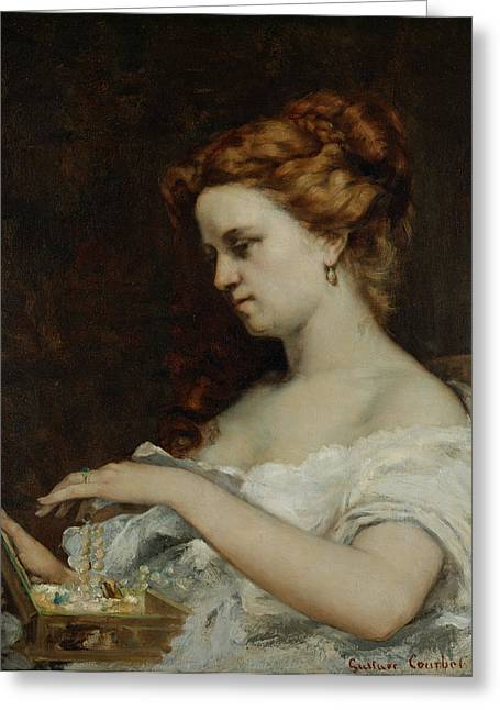 Portrait With Dress Greeting Cards - A Woman with Jewellery Greeting Card by Gustave Courbet