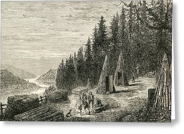 A Woodcutters Camp In The Ardennes Greeting Card by Vintage Design Pics