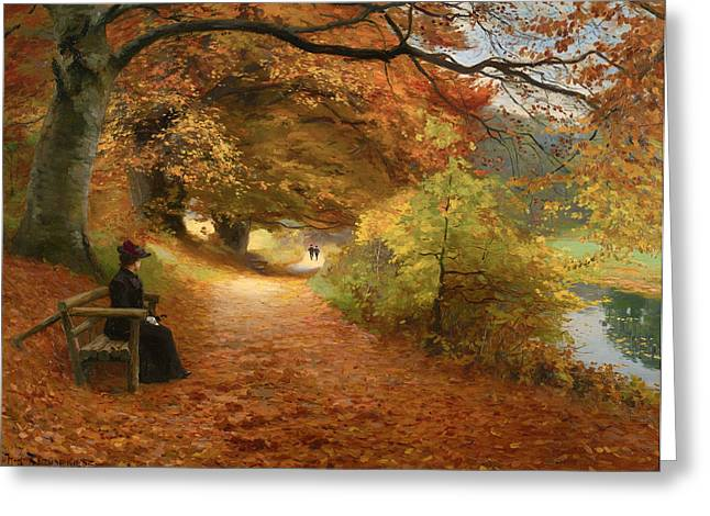 Fallen Leaf Paintings Greeting Cards - A Wooded Path In Autumn Greeting Card by H A Brendekilde