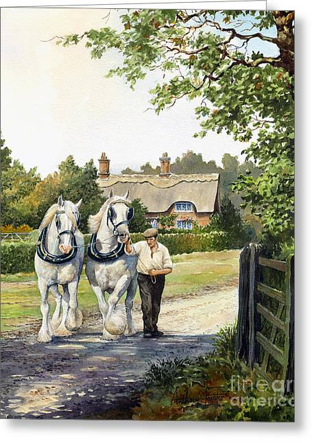 The Horse Greeting Cards - A working day Greeting Card by Anthony Forster