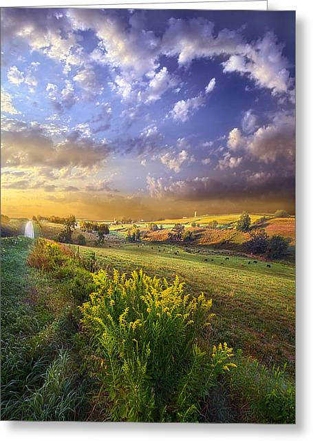 Field. Cloud Greeting Cards - A World With a View Greeting Card by Phil Koch