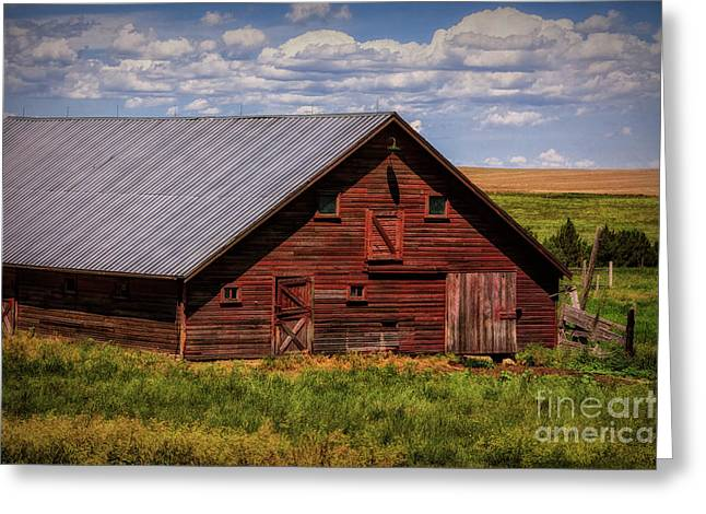 Barn Door Greeting Cards - A Wyoming Red Barn Greeting Card by Priscilla Burgers