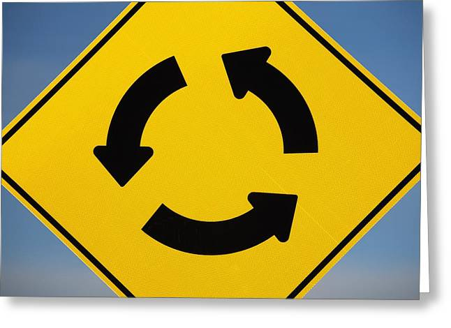 Directional Signage. Greeting Cards - A Yellow Sign Showing Three Arrows Greeting Card by Michael Interisano
