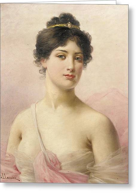 Seen Greeting Cards - A Young Beauty Greeting Card by Jules Frederic Ballavoine
