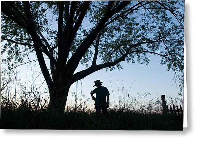 Property-released Photography Greeting Cards - A Young Boy Is Silhouetted Greeting Card by Joel Sartore