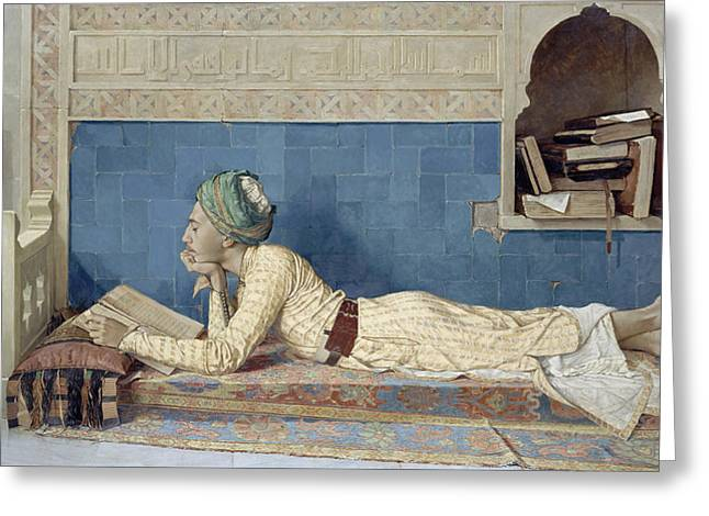 Cushion Paintings Greeting Cards - A Young Emir Greeting Card by Osman Hamdi Bey