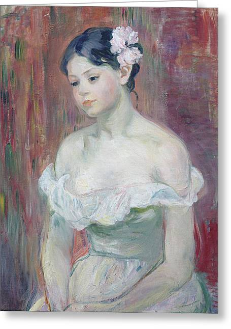 A Young Girl Greeting Card by Berthe Morisot