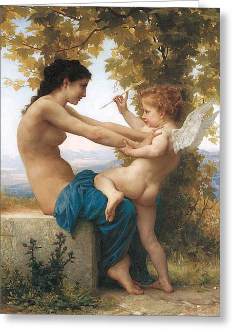 Eros Art Greeting Cards - A Young Girl Defending Herself Against Eros Greeting Card by William-Adolphe Bouguereau