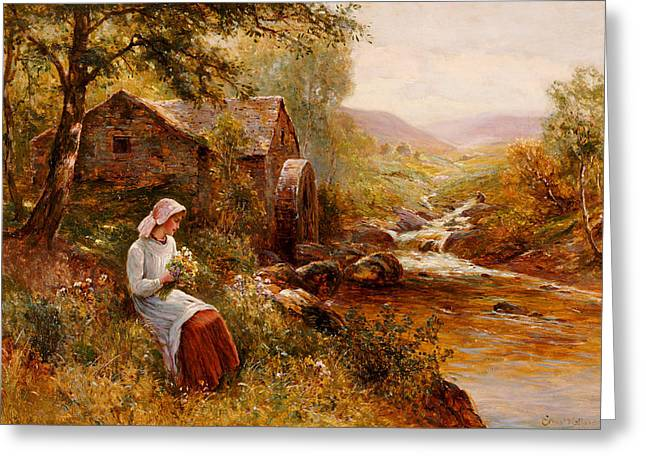 River View Greeting Cards - A Young Girl picking Spring Flowers Greeting Card by Ernest Walbourn