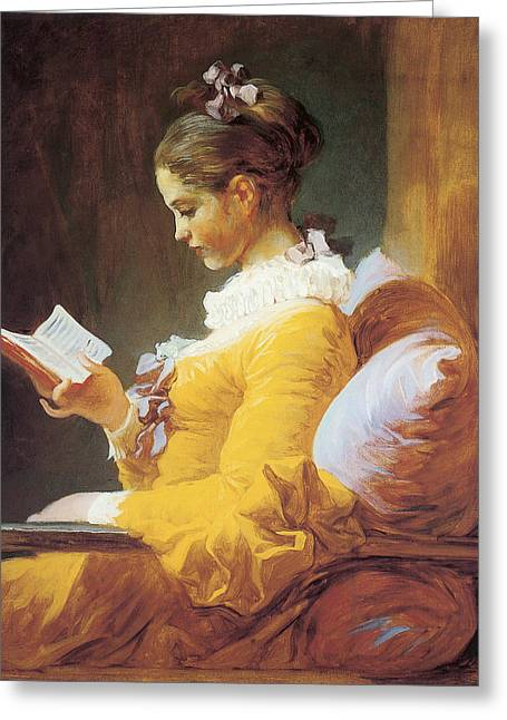 A Young Girl Reading Greeting Card by Jean Honore Framgonard