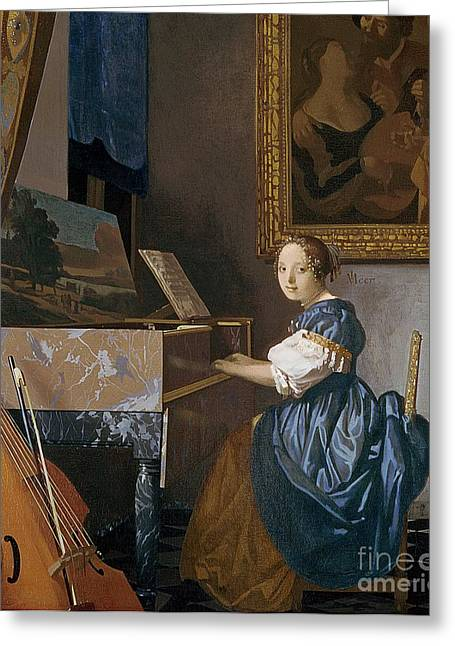 Young Lady Greeting Cards - A Young Lady Seated at a Virginal Greeting Card by Jan Vermeer