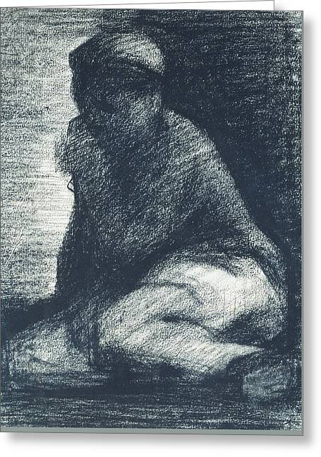 Seurat Greeting Cards - A Young Man Crouching Greeting Card by Georges Pierre Seurat