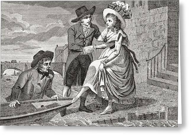 Ferryman Greeting Cards - A Young Man Helps A Pretty Young Woman Greeting Card by Ken Welsh