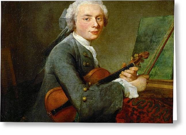 Chardin; Jean-baptiste Simeon (1699-1779) Greeting Cards - A young man with a violin Greeting Card by Celestial Images