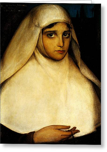 Rosary Greeting Cards - A Young Nun Greeting Card by Julio Romero de Torres
