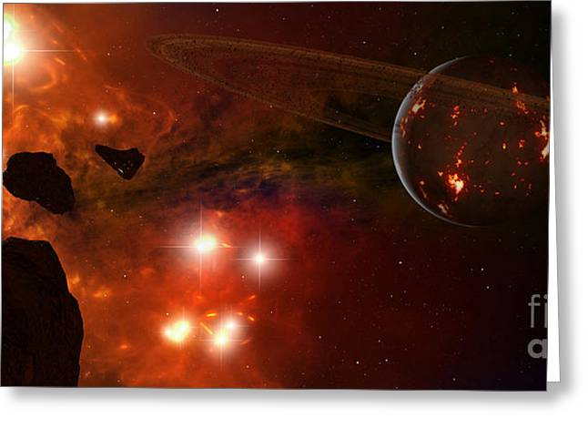 Ring Systems Greeting Cards - A Young Ringed Planet With Glowing Lava Greeting Card by Frieso Hoevelkamp