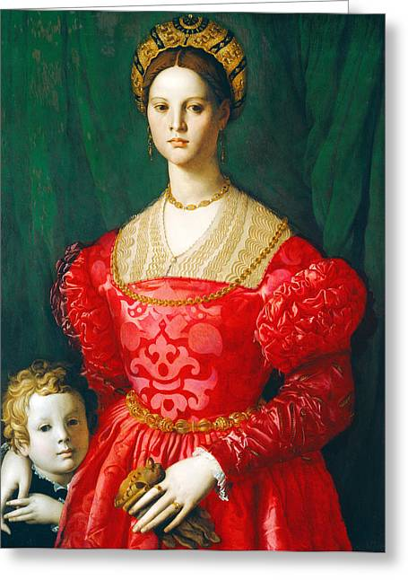 Bronzino Agnolo Greeting Cards - A Young Woman and Her Little Boy Greeting Card by Agnolo di Cosimo di Mariano Bronzino