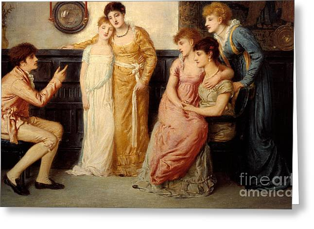 Simeon Greeting Cards - A Youth Relating Tales to Ladies Greeting Card by Celestial Images
