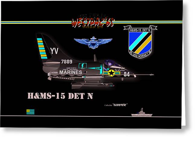 Naval Aviation Greeting Cards - A4-C Skyhawk VSF Greeting Card by Mike Ray