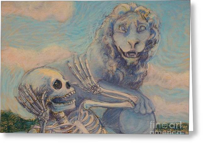 Florida Bridge Pastels Greeting Cards - Aah Scary Greeting Card by Marie  Marfia