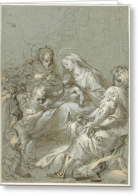 Aanbidding Der Koningen Greeting Card by Federico Barocci