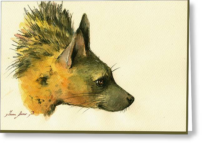 Safari Prints Greeting Cards - Aardwolf hyena animal art Greeting Card by Juan  Bosco
