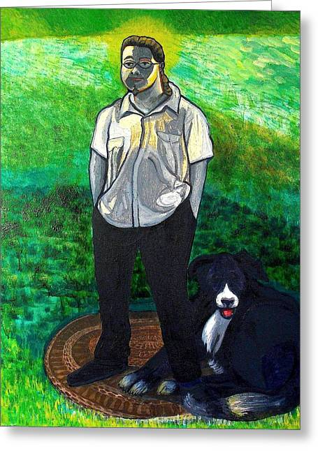 Aaron And Annie Greeting Card by Al Goldfarb