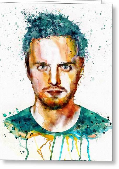 Amc Greeting Cards - Aaron Paul as Jesse Pinkman watercolor Greeting Card by Marian Voicu