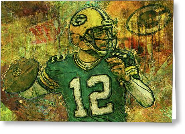 Aaron Rodgers 2 Green Bay Packers Greeting Card by Jack Zulli