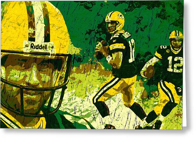 Lambeau Field Paintings Greeting Cards - Aaron Rodgers 2015 Greeting Card by John Farr