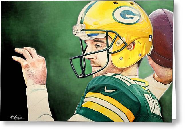 Aaron Rodgers - Green Bay Packers Greeting Card by Michael  Pattison