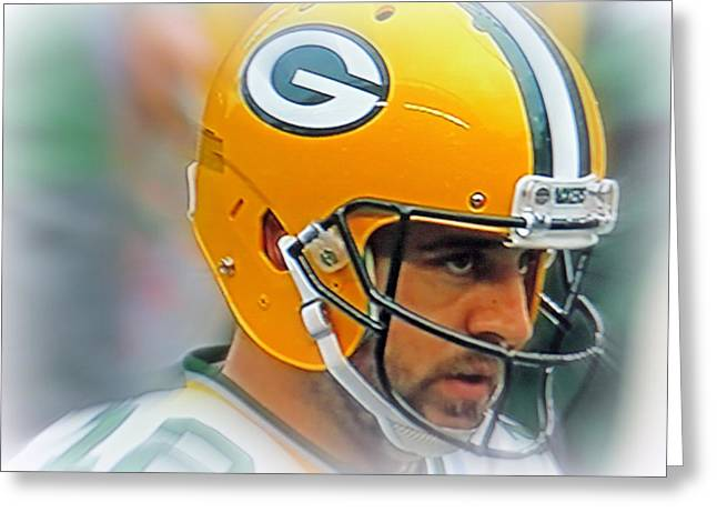 Greeting Cards - Aaron Rodgers Greeting Card by Kay Novy