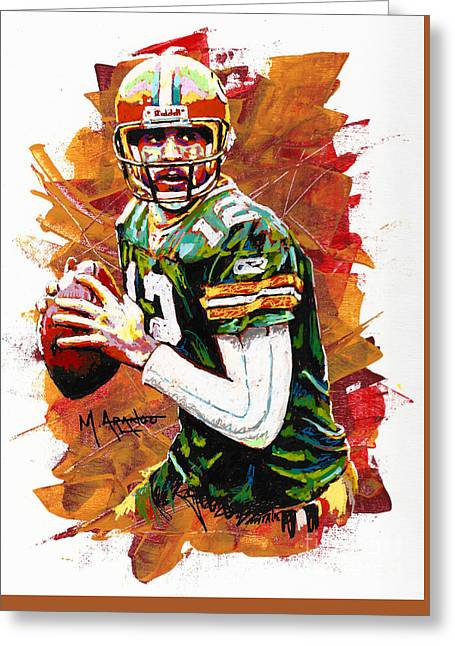Ball Mixed Media Greeting Cards - Aaron Rodgers Greeting Card by Maria Arango