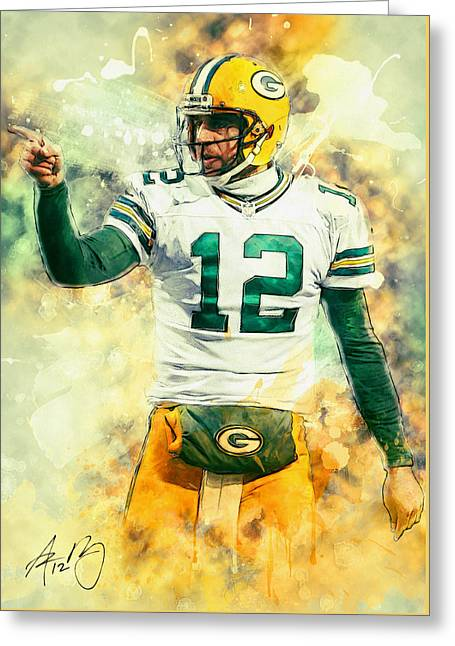 Pro Football Paintings Greeting Cards - Aaron Rodgers Greeting Card by Taylan Soyturk
