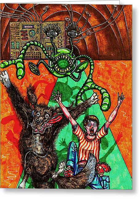 Adversary Greeting Cards - Aarron And Spacedog Chased By An Alien Greeting Card by Al Goldfarb