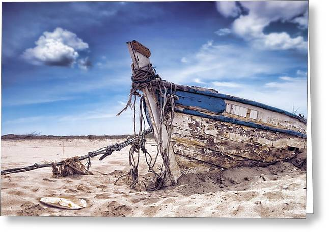 Fishing Boats Photographs Greeting Cards - Abandoned Greeting Card by Amanda And Christopher Elwell