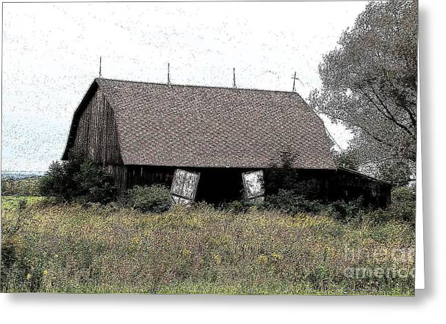Abandoned Barn In Wny Ink Sketch Effect Greeting Card by Rose Santuci-Sofranko