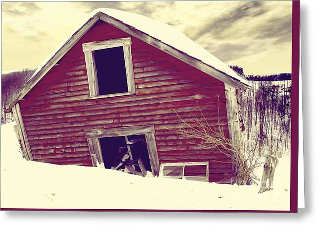 Red Barn In Winter Greeting Cards - Abandoned Barn Greeting Card by Mindy Sommers
