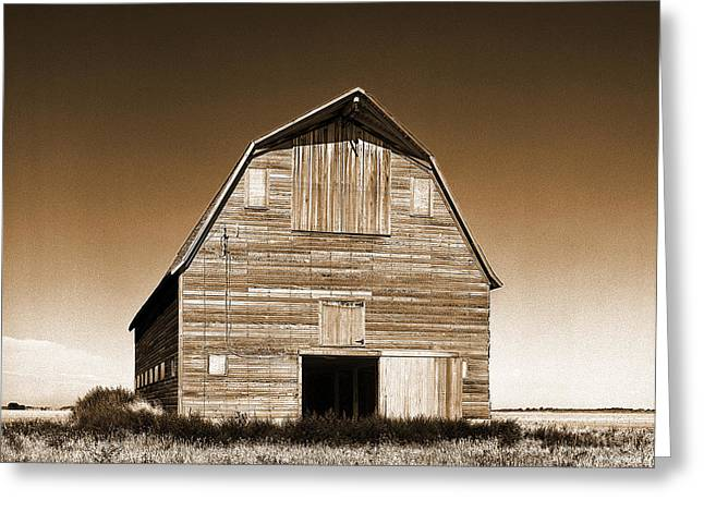 Old House Photographs Greeting Cards - Abandoned Barn Sepia Toned Greeting Card by Donald  Erickson