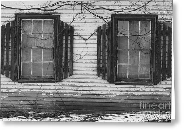 Winter In Maine Greeting Cards - Abandoned Black and White Greeting Card by Katie W