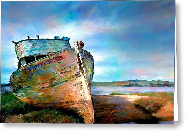 Sailboat Images Greeting Cards - Abandoned Boat Landscape Art Painting Greeting Card by Andres Ramos