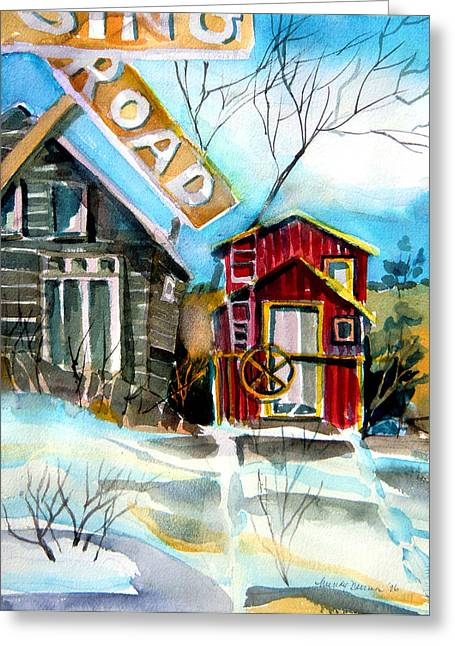 Winter Roads Drawings Greeting Cards - Abandoned Caboose Greeting Card by Mindy Newman