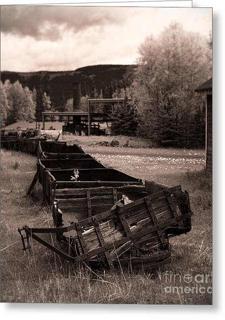 Colliery Greeting Cards - Abandoned Cars and Scattered Nuggets Greeting Card by Royce Howland