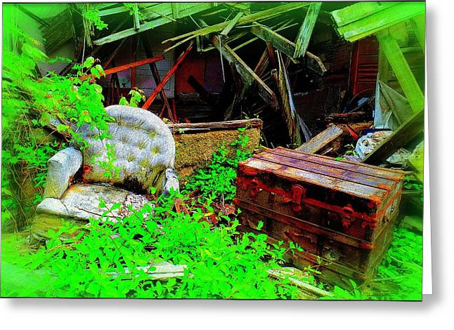 Urban Images Greeting Cards - Abandoned Chest and Chair Greeting Card by Constance Lowery