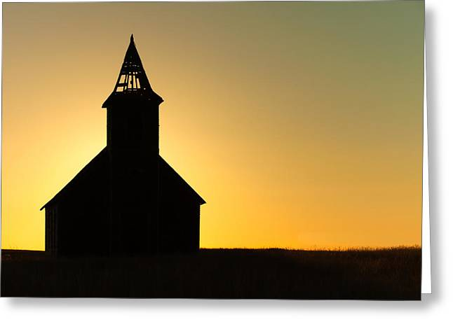 Abandoned Church Silhouette Greeting Card by Todd Klassy