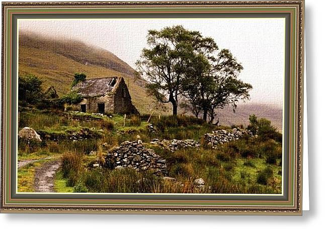 Cellphone Greeting Cards - Abandoned Cottage - Scotland H B With Decorative Ornate Printed Frame Greeting Card by Gert J Rheeders