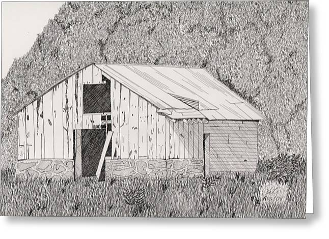 Best Sellers -  - Barn Pen And Ink Greeting Cards - Abandoned Dairy-Oklahoma Greeting Card by Pat Price