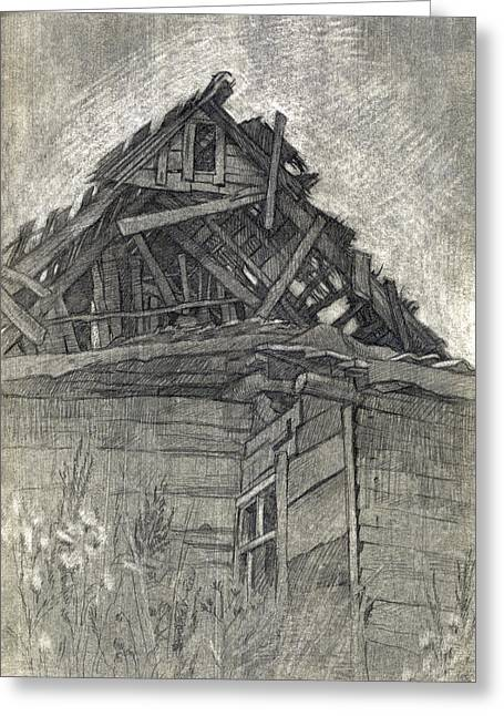 Abandoned Houses Drawings Greeting Cards - Abandoned Greeting Card by Elena Senina