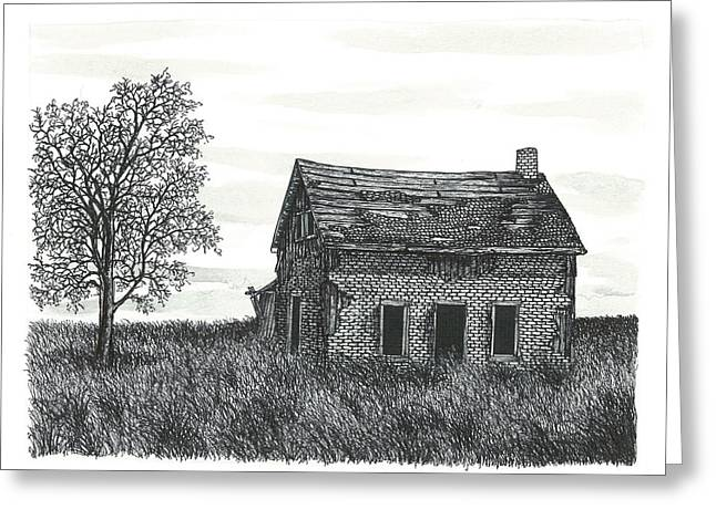 Abandoned Houses Drawings Greeting Cards - Abandoned Farm House Greeting Card by Jonathan Baldock