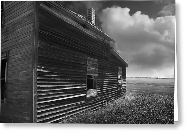 Erickson Greeting Cards - Abandoned Farm House on North Dakota Prairie Black and White Greeting Card by Donald  Erickson
